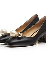 Недорогие -Жен. Обувь Наппа Leather Весна / Осень Удобная обувь / Туфли лодочки Обувь на каблуках На толстом каблуке Белый / Черный