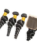 economico -3 pacchi con chiusura Peruviano Ondulato Cappelli veri Ciocche a onde capelli veri / Un pacchetto di soluzioni / Ciocche con tessitura 8-20 pollice Tessiture capelli umani 4x4 Chiusura Migliore
