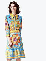 abordables -Mujer Básico / Sofisticado Camisa - Un Color / Floral Falda