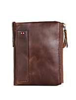 cheap -Men's Bags Cowhide Wallet Zipper Black / Coffee / Brown