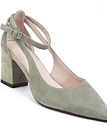 cheap -Women's Shoes Suede Spring Comfort Heels Chunky Heel Green / Almond