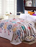 baratos -Velocino de Coral, Impressão Reactiva Geométrica / Natureza e Paisagem Algodão / Poliéster cobertores