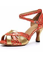 Недорогие -Жен. Обувь для латины Сатин На каблуках Толстая каблук Танцевальная обувь Золотой