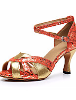 cheap -Women's Latin Shoes Satin Heel Thick Heel Dance Shoes Gold