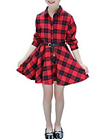cheap -Kids Girls' Black & Red Plaid / Patchwork Long Sleeve Dress