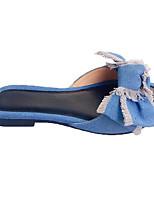 Недорогие -Жен. Обувь Деним Весна лето Удобная обувь Тапочки и Шлепанцы На плоской подошве Синий / Черно-белый