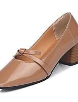 Недорогие -Жен. Обувь Полиуретан Лето Туфли лодочки Обувь на каблуках На толстом каблуке Квадратный носок Черный / Бежевый / Миндальный