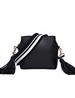 cheap -Women's Bags PU(Polyurethane) Shoulder Bag Sashes / Ribbons / Zipper Black