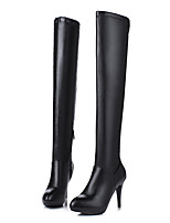 cheap -Women's Shoes PU(Polyurethane) Fall & Winter Fashion Boots Boots Stiletto Heel Pointed Toe Over The Knee Boots Feather White / Black