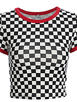 economico -t-shirt da donna - check girocollo