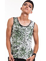 cheap -Jazz Tops Men's Performance Spandex Split Joint / Paillette Sleeveless Vest