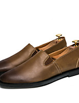 cheap -Men's Moccasin Cowhide Spring Loafers & Slip-Ons Black / Brown / Khaki
