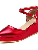 Недорогие -Жен. Обувь Сатин Весна Удобная обувь Обувь на каблуках Туфли на танкетке Золотой / Красный