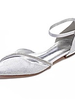cheap -Women's Shoes Lace / Satin Spring & Summer Comfort / Ankle Strap Wedding Shoes Flat Heel Pointed Toe Rhinestone / Sparkling Glitter White / Ivory / Party & Evening