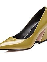 preiswerte -Damen Schuhe Nappaleder Frühling Komfort High Heels Blockabsatz Schwarz / Gelb / Rosa