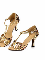 cheap -Women's Latin Shoes Canvas Heel Thick Heel Dance Shoes Leopard