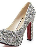 cheap -Women's Shoes PU(Polyurethane) Spring & Summer Basic Pump Heels Chunky Heel Round Toe Sequin Gold / White / Blue / Party & Evening