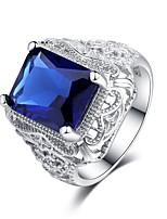 economico -Per donna Zircone cubico A strati Band Ring - Argento sterling S925 Fiore decorativo Classico, Vintage, Elegante 6 / 7 / 8 Blu Per Matrimonio / Fidanzamento / Cerimonia