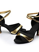 preiswerte -Damen Schuhe für den lateinamerikanischen Tanz Satin / Lackleder Sandalen / Absätze Farbaufsatz Schlanke High Heel Maßfertigung Tanzschuhe Schwarz und Gold