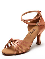 cheap -Women's Latin Shoes Satin Heel Slim High Heel Dance Shoes Black / Nude