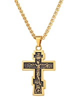cheap -Men's Vintage Style Pendant Necklace - Stainless Steel Cross Classic, Vintage Gold, Black, Silver 55 cm Necklace Jewelry 1pc For Gift, Daily