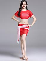 abordables -Danza del Vientre Accesorios Mujer Rendimiento Tul Fruncido / Combinación Manga Corta Cintura Baja Faldas / Top / Cinturón