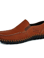 cheap -Men's Moccasin Cowhide Spring / Fall Loafers & Slip-Ons Black / Brown / Khaki