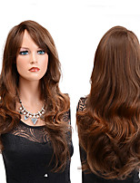 cheap -Synthetic Wig Wavy Middle Part Synthetic Hair Party / Classic / Synthetic Brown Wig Women's Long Capless Brown / Yes