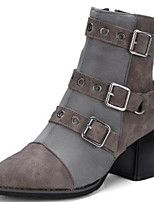 cheap -Women's Shoes PU(Polyurethane) Fall & Winter Bootie / Combat Boots Boots Chunky Heel Pointed Toe Booties / Ankle Boots Buckle Black / Gray