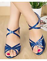 baratos -Mulheres Sapatos de Dança Latina Couro Ecológico Salto Salto Grosso Sapatos de Dança Dourado / Vermelho / Azul