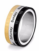 cheap -Men's Stylish Multi Finger Ring - Titanium Steel Number, Letter Stylish, Unique Design, European 7 / 8 / 9 Gold / Black For Street / Going out