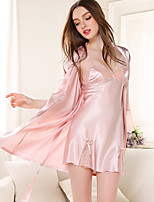 cheap -Women's Deep V Satin & Silk / Ultra Sexy Pajamas Solid Colored