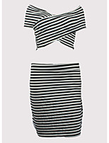 cheap -Women's Polo - Striped Skirt