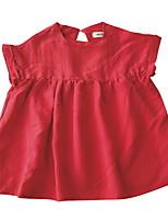 baratos -Infantil / Bébé Para Meninas Sólido Manga Curta Vestido