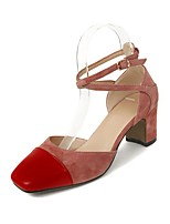 cheap -Women's Shoes Suede / Nappa Leather Summer Comfort / Basic Pump Heels Chunky Heel Pink / Wine