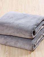 baratos -Velocino de Coral / Super Suave, Impressão Reactiva Sólido / Simples Algodão / Poliéster cobertores