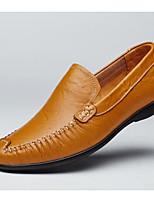 Недорогие -Муж. Наппа Leather Лето Удобная обувь Мокасины и Свитер Черный / Коричневый / Темно-коричневый