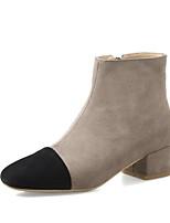 baratos -Mulheres Sapatos Pele Outono / Inverno Conforto / Curta / Ankle Botas Salto Robusto Preto / Café
