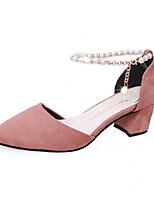 abordables -Femme Chaussures Daim Printemps été D'Orsay & Deux Pièces Chaussures à Talons Block Heel Bout pointu Imitation Perle / Boucle Noir / Jaune / Rose