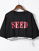 cheap -Women's Slim T-shirt - Solid Colored / Letter