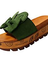 Недорогие -Жен. Обувь Полиуретан Лето Босоножки Тапочки и Шлепанцы Микропоры Бант Черный / Бежевый / Зеленый
