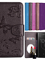 cheap -Case For Sony Xperia XZ1 / Xperia XZ2 Card Holder / Flip / Pattern Full Body Cases Solid Colored / Butterfly Hard PU Leather for Sony Xperia XZ2 / Sony Xperia XZ1