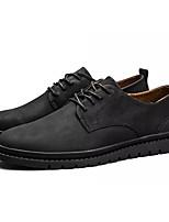 Недорогие -Муж. Свиная кожа Осень Удобная обувь Туфли на шнуровке Черный / Коричневый / Хаки