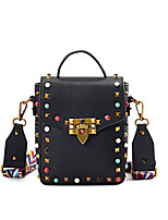 cheap -Women's Bags PU(Polyurethane) Shoulder Bag Rivet Black