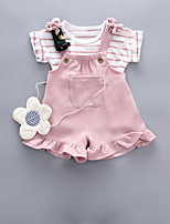 Недорогие -малыш Девочки Однотонный С короткими рукавами Набор одежды