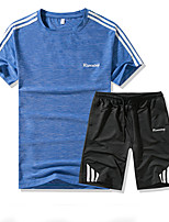 cheap -Men's Sports Short Sleeve Activewear Set - Solid Colored / Color Block Round Neck