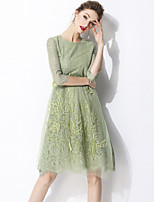 cheap -SHIHUATANG Women's Street chic / Sophisticated A Line Dress - Solid Colored Lace / Embroidered
