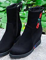 abordables -Femme Chaussures Daim / Cuir Nappa Automne hiver Confort / Bottes à la Mode Bottes Talon Plat Bout fermé Bottes Mi-mollet Noir