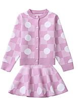 cheap -Kids Girls' Polka Dot Long Sleeve Clothing Set
