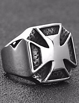 cheap -Men's Vintage Style Ring - Titanium Steel Cross Vintage, Punk, European 7 / 8 / 9 Silver For Street / Holiday